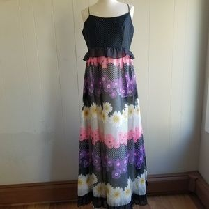 1950s Unlabeled Floral & Polka Dot Maxi Dress